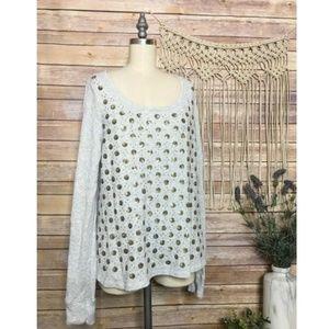 Anthropologie Deletta Pullover Sequin Gray Sweater